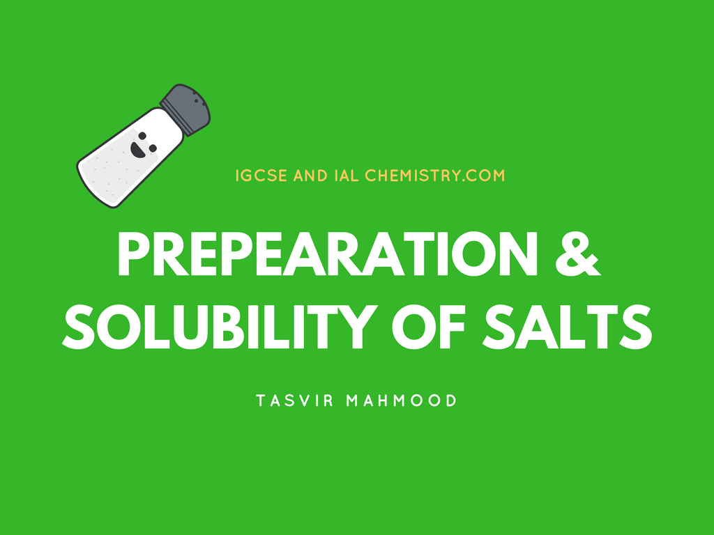 Preparation of salts and solubility of salts