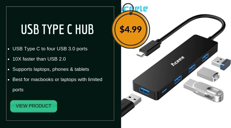 USB Type C Hub. One USB C to four USB 3.0 ports