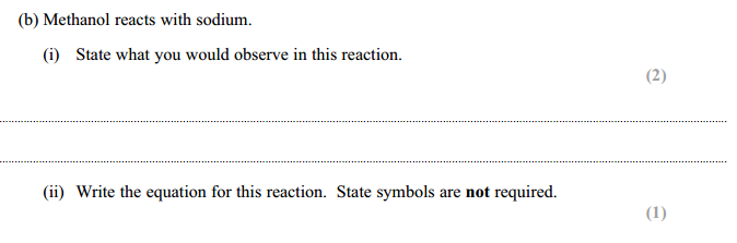 IAL chemistry sodium ethanol reaction question