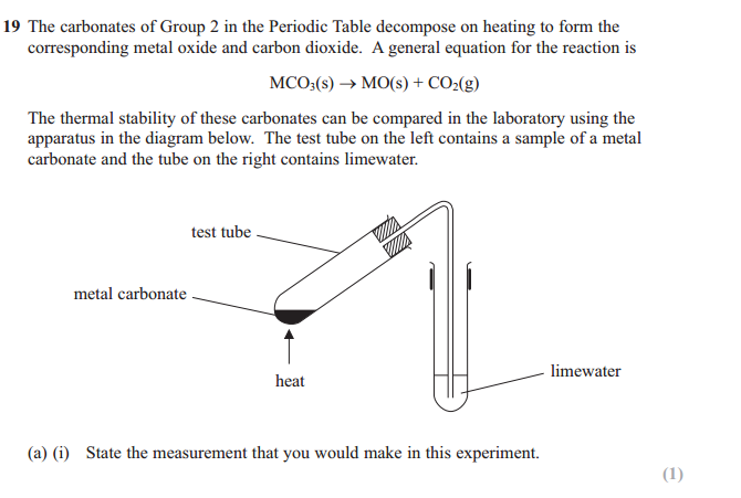 decomposition of metal carbonate question in ial chemistry unit 2 examp